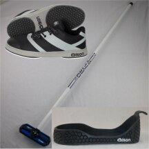 Olson Starterset: Crosskick Curlingschuh + Gripper + Fiberglas Curlingbesen mit beweglichem Kopf
