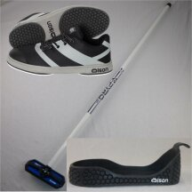 Olson Starterset: Crosskick Curlingschuh + Gripper + Fiberglas Curlingbesen mit beweglichem Kopf W8,5