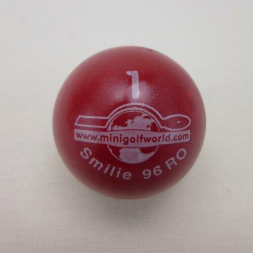 Minigolfball Smilie Turnierqualität 1 rot - ca. 10cm, eher weich, ca. 39g