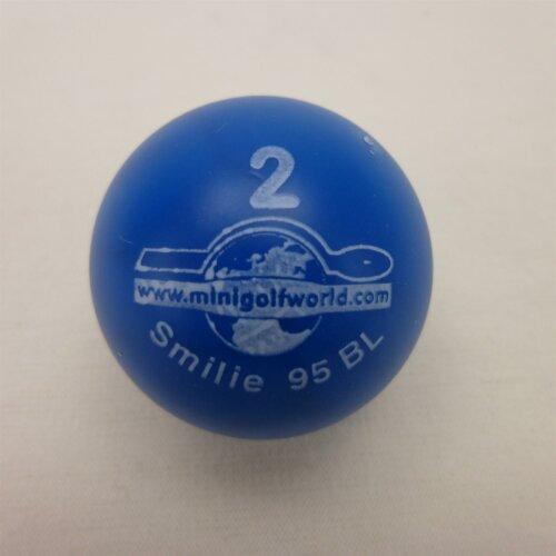 Minigolfball Smilie Turnierqualität 2 blau - ca. 15cm, eher hart, ca. 37g