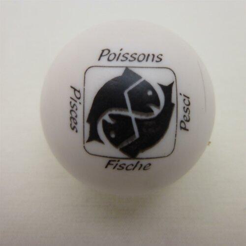 Minigolfball Motiv Tierkreiszeichen weiß Fische