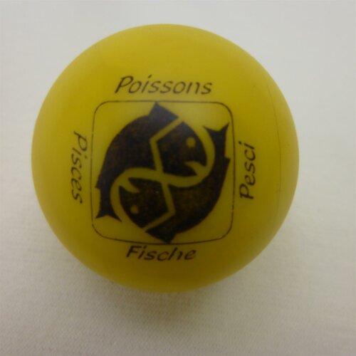 Minigolfball Motiv Tierkreiszeichen gelb Fische