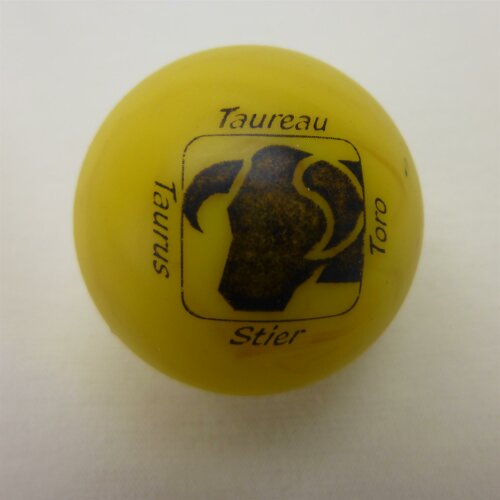 Minigolfball Motif Sign of Zoidiac yellow Taurus