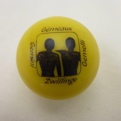 Minigolfball Motiv Tierkreiszeichen gelb Zwillinge