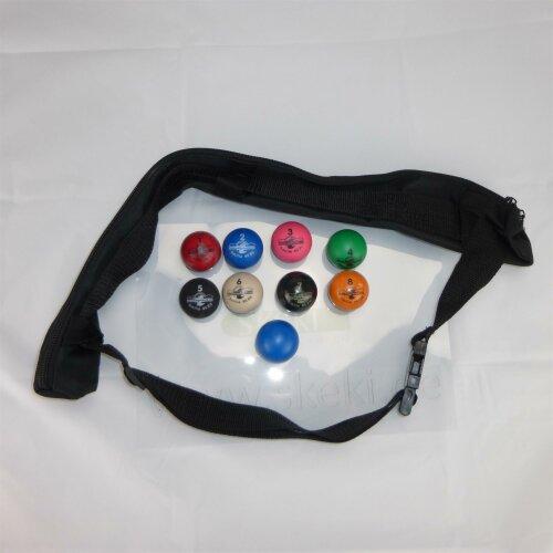 Minigolfbälle Ballset Smilie mit Gürtel-Minigolfballtasche 11tlg.